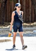 Lucy Hale changes her clothes in a public restroom to grab lunch after her daily hike in Studio City, California