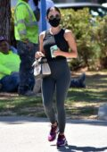 Lucy Hale sports tank top and leggings while making a coffee run at Alfred's in Studio City, California
