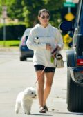 Lucy Hale takes her dog Elvis to visit a friend in Studio City, California