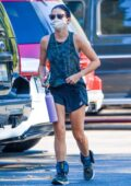 Lucy Hale wears shorts and camo tank top for an afternoon hike in Los Angeles