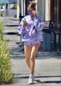 Madison Beer flaunts her slender legs in tie-dye shorts with matching hoodie while out with friends in Beverly Hills, California