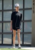 Margaret Qualley puts her long legs on display while out for a run in Los Angeles