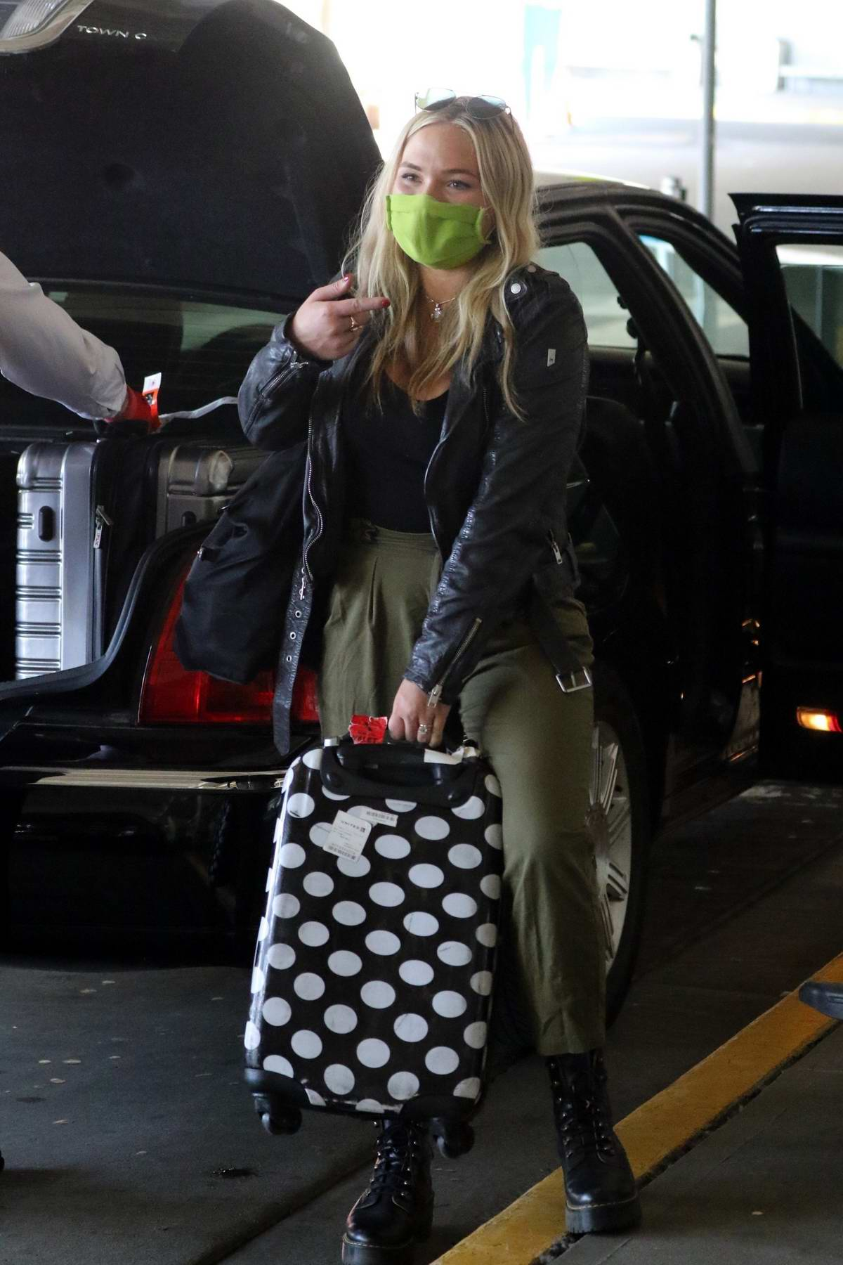 Natalie Alyn Lind arrives into Vancouver to begin her 14 day quarantine before filming ABC's The Big Sky, Vancouver, Canada