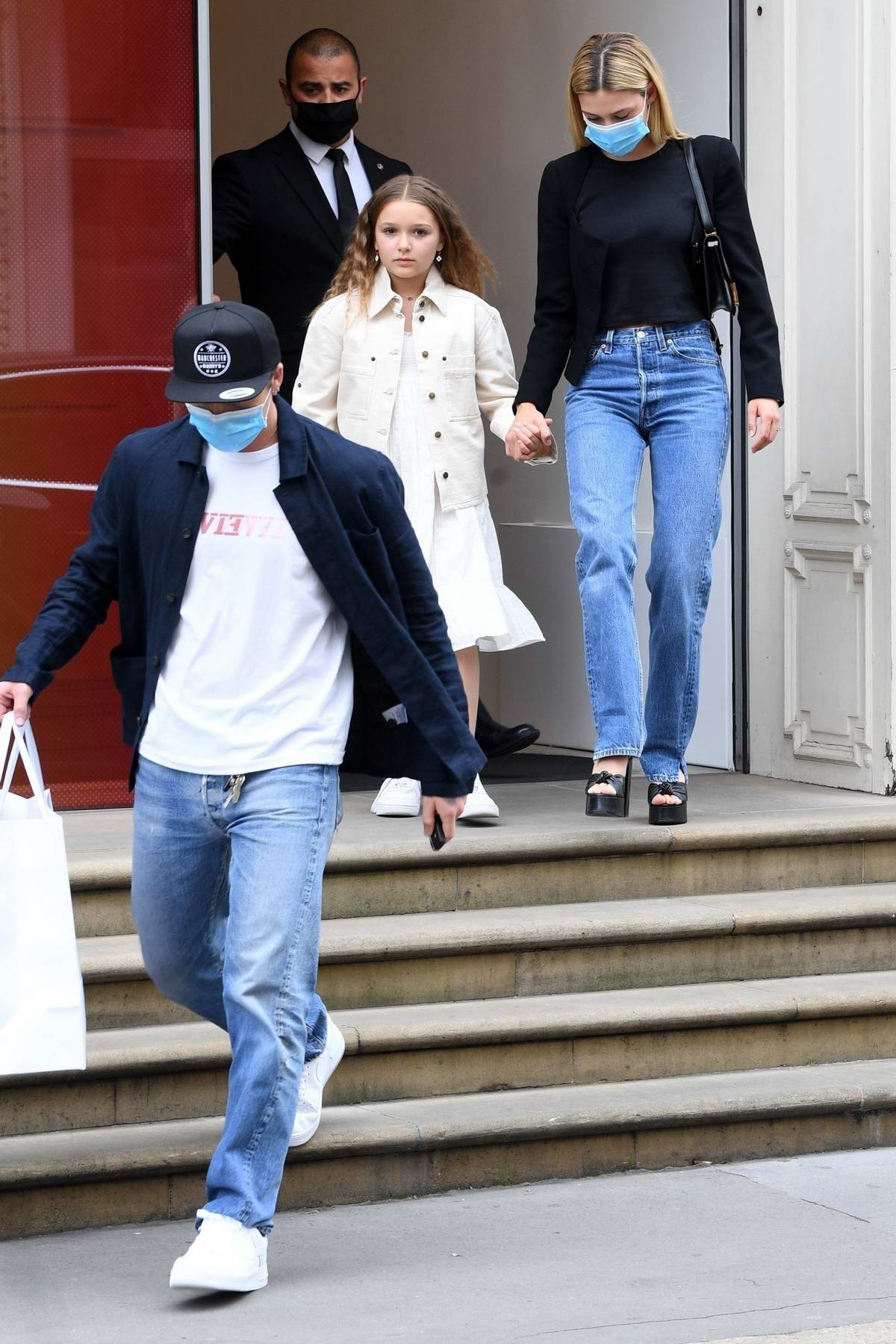 Nicola Peltz and Brooklyn Beckham step out for a shopping trip with Harper Seven at Victoria Beckham's Mayfair store in London, UK