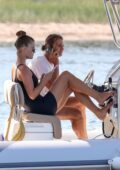 Nina Agdal and boyfriend Jack Brinkley-Cook relax on a motor boat in The Hamptons, New York