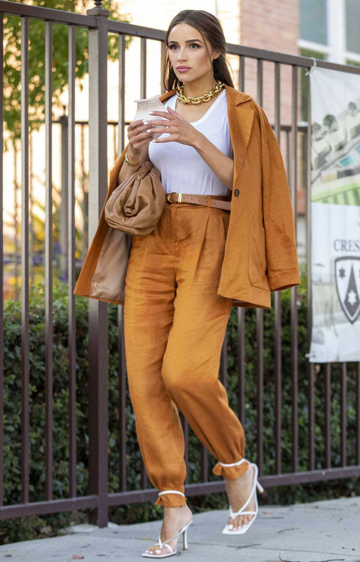 Olivia Culpo looks flawless in a burnt-orange linen suit during an outing Los Angeles