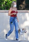 Olivia Holt steps out for a juice run with her dog in Studio City, California