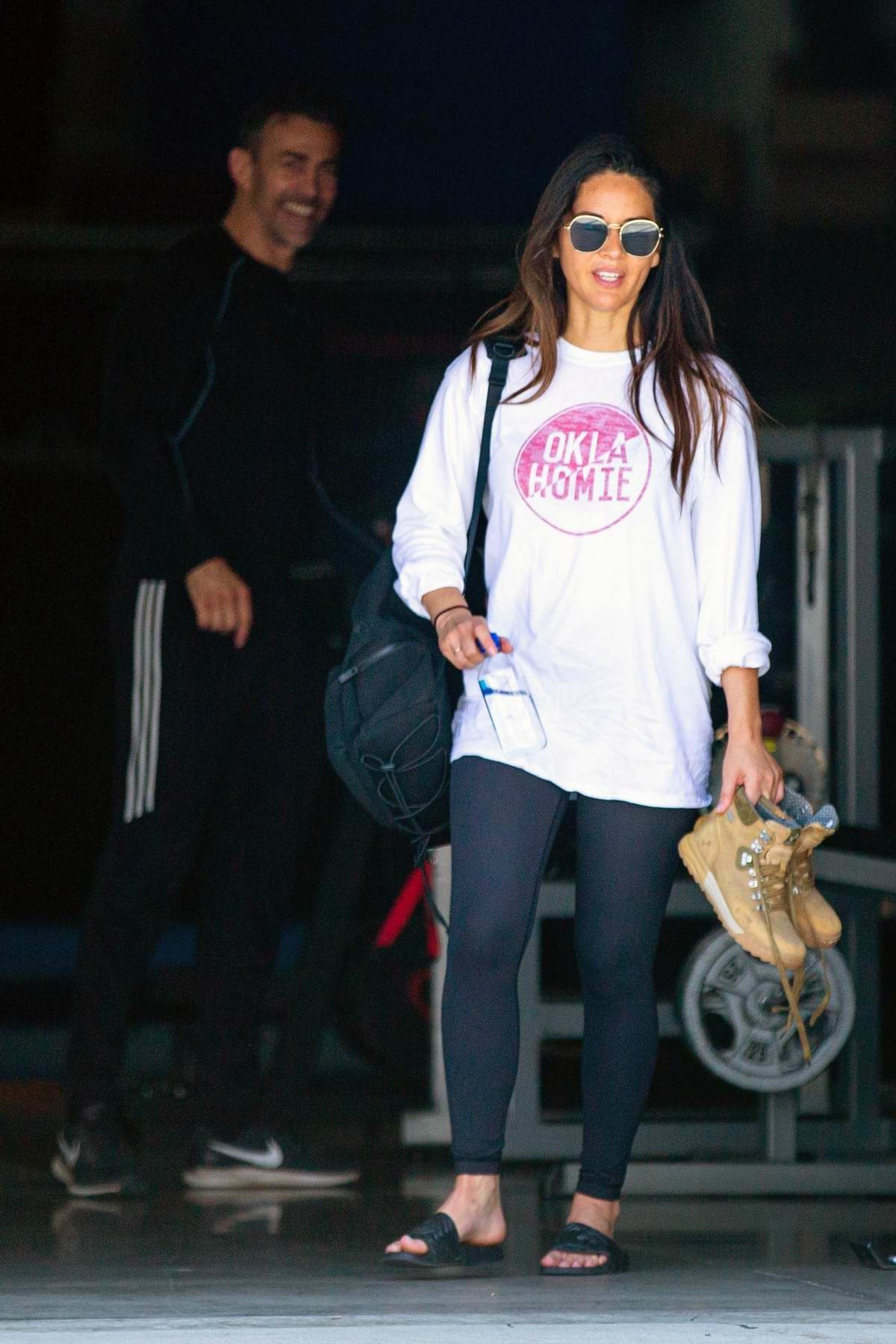 Olivia Munn seen leaving after a workout session at a private gym in Los Angeles