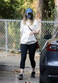 Rachel McAdams spotted in a white sweatshirt and black leggings while stepping out in Los Angeles