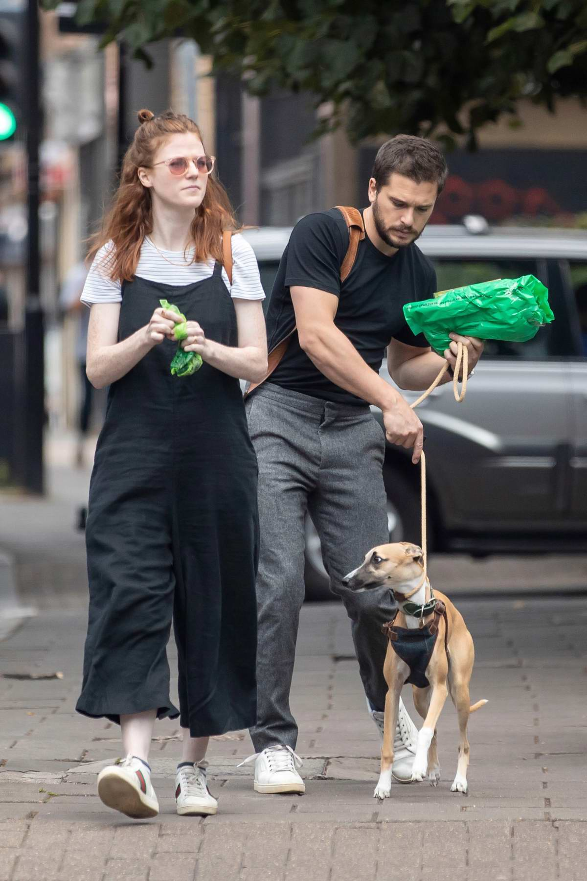 Rose Leslie and Kit Harrington take their dog to a pet store in London, UK