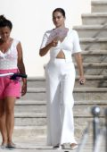 Shanina Shaik spotted in all-white while enjoying a day at the Hotel du Cap Eden Roc in Antibes, France