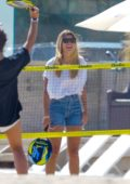 Sofia Richie enjoys a game of beach tennis with friends in Malibu, California