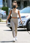 Vanessa Hudgens displays her fit physique in matching crop top and leggings as she hits the gym in West Hollywood, California
