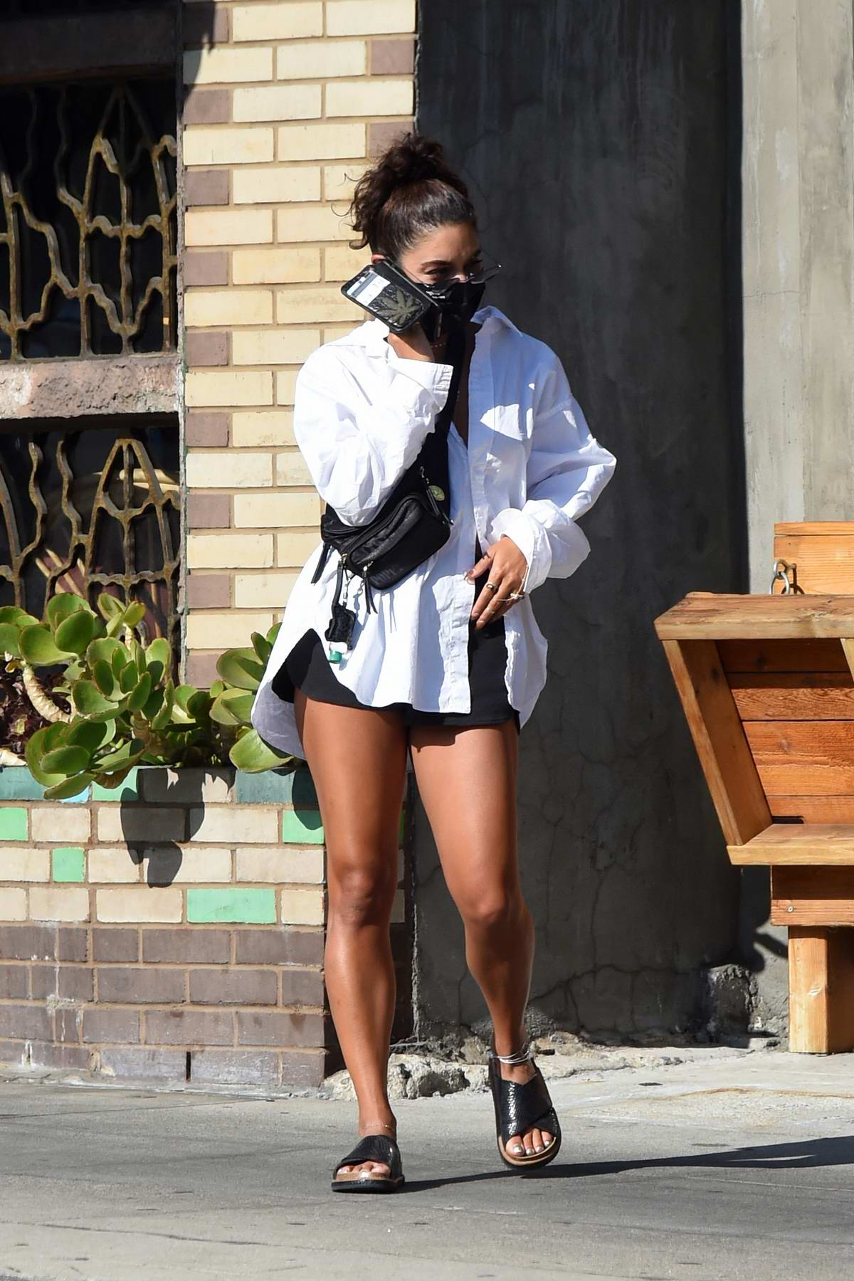 Vanessa Hudgens Flaunts Her Legs While Out Picking Up Dinner In Los Angeles