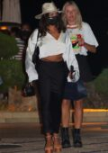 Vanessa Hudgens shows off her toned abs during a dinner outing at Nobu in Malibu, California