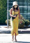 Vanessa Hudgens stands out in a bright yellow dress while out for some shopping in Los Angeles