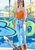 Addison Rae shows off her skateboarding skills while making a stop at Urth Caffe in West Hollywood, California