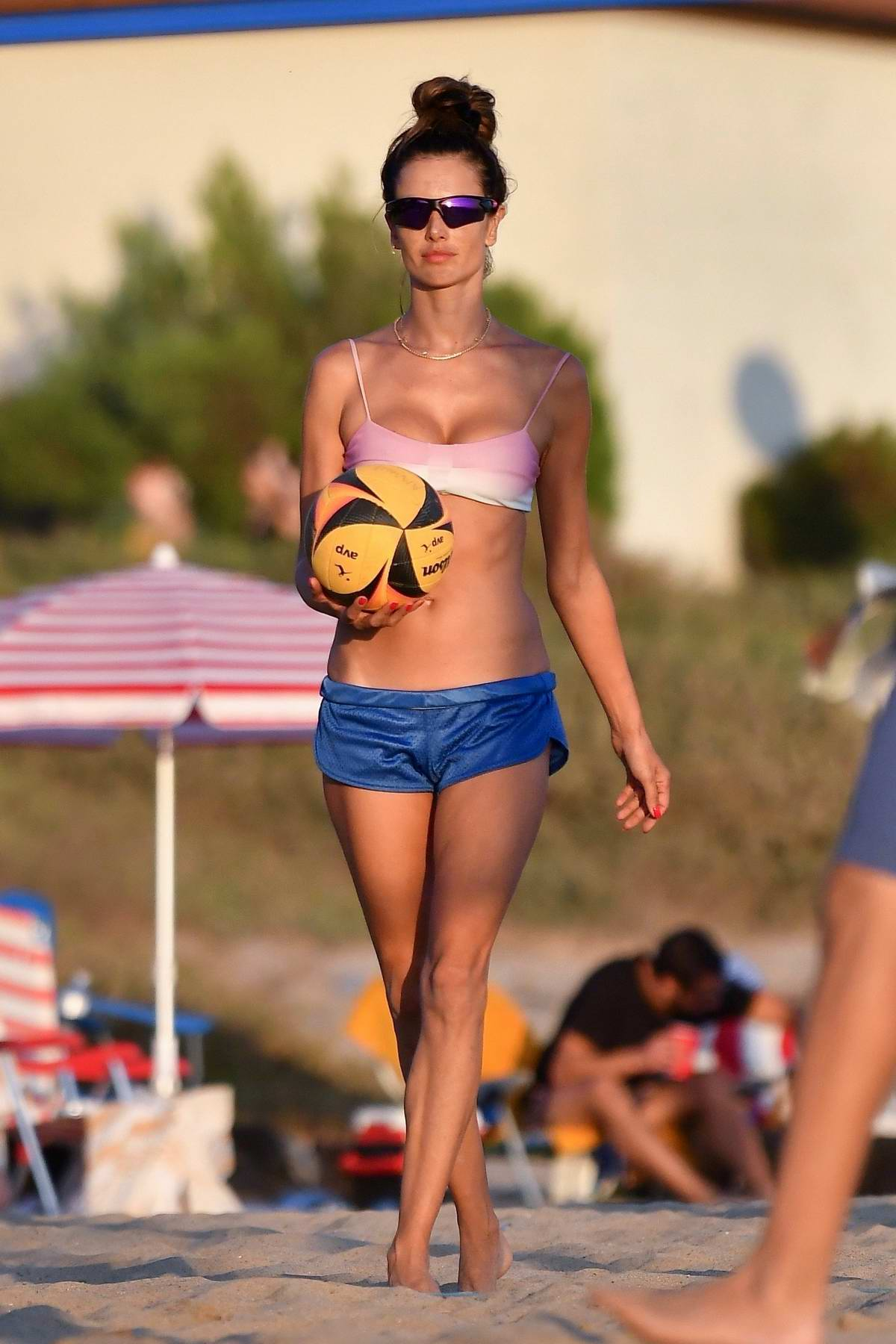 Alessandra Ambrosio flaunts her incredible figure during another day of beach volleyball with friends in Santa Monica, California