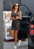 Alessandra Ambrosio looks cute in a mini dress as she arrives for a photoshoot in Los Angeles