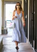 Alessandra Ambrosio looks lovely in a blue summer dress while visiting a skin care spa in Los Angeles