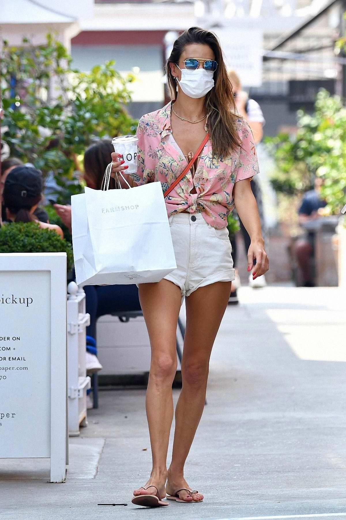 Alessandra Ambrosio puts on a leggy display while out shopping in Santa Monica, California