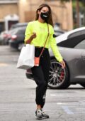 Alessandra Ambrosio sports a neon sweatshirt during a shopping trip to the Country Mart in Brentwood, California