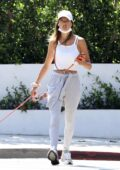 Alessandra Ambrosio sports grey sweatsuit while out to walk her dog in Los Angeles