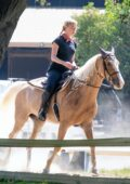 Amber Heard brings her father David Heard with her as she goes horseback riding in Los Angeles