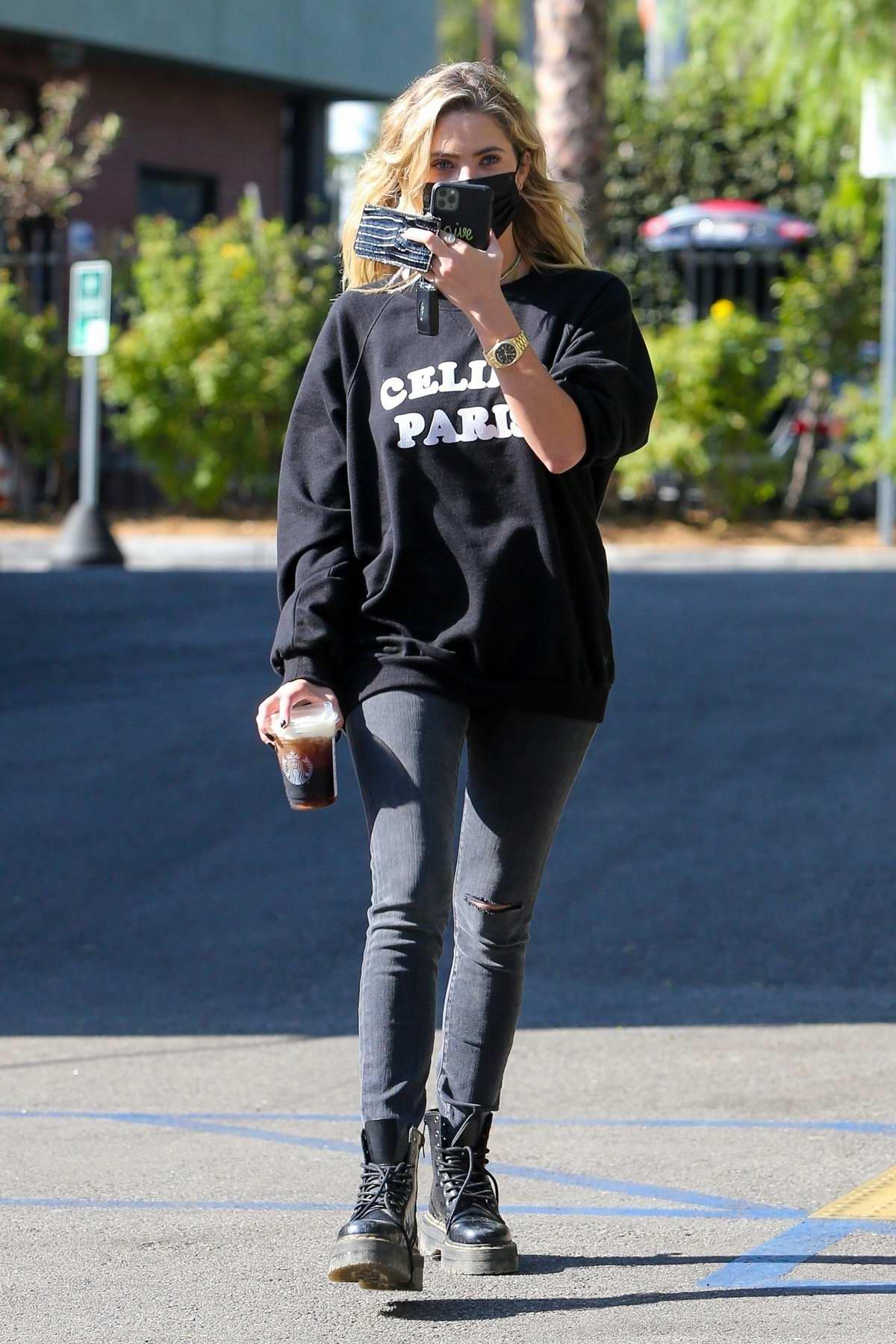 Ashley Benson makes a Starbucks coffee run in Los Feliz, California