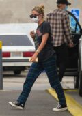 Ashley Benson stops for gas in her pajamas at a gas station in Los Angeles