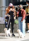 Camila Mendes and Madelaine Petsch take their dogs for a walk and grab coffee in Vancouver, Canada