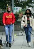 Camila Mendes, Lili Reinhart and Madelaine Petsch spotted on an afternoon dog walk in Vancouver, Canada