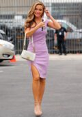 Chrishell Stause looks lovely in a lavender dress as she arrives at the DWTS studio for a press conference in Los Angeles