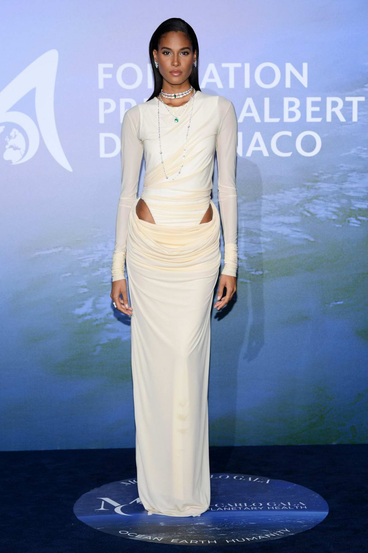 Cindy Bruna attends the Monte Carlo Gala For Planetary Health in Monte Carlo, Monaco