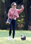 Emilia Clarke takes her dog to the park in London, UK
