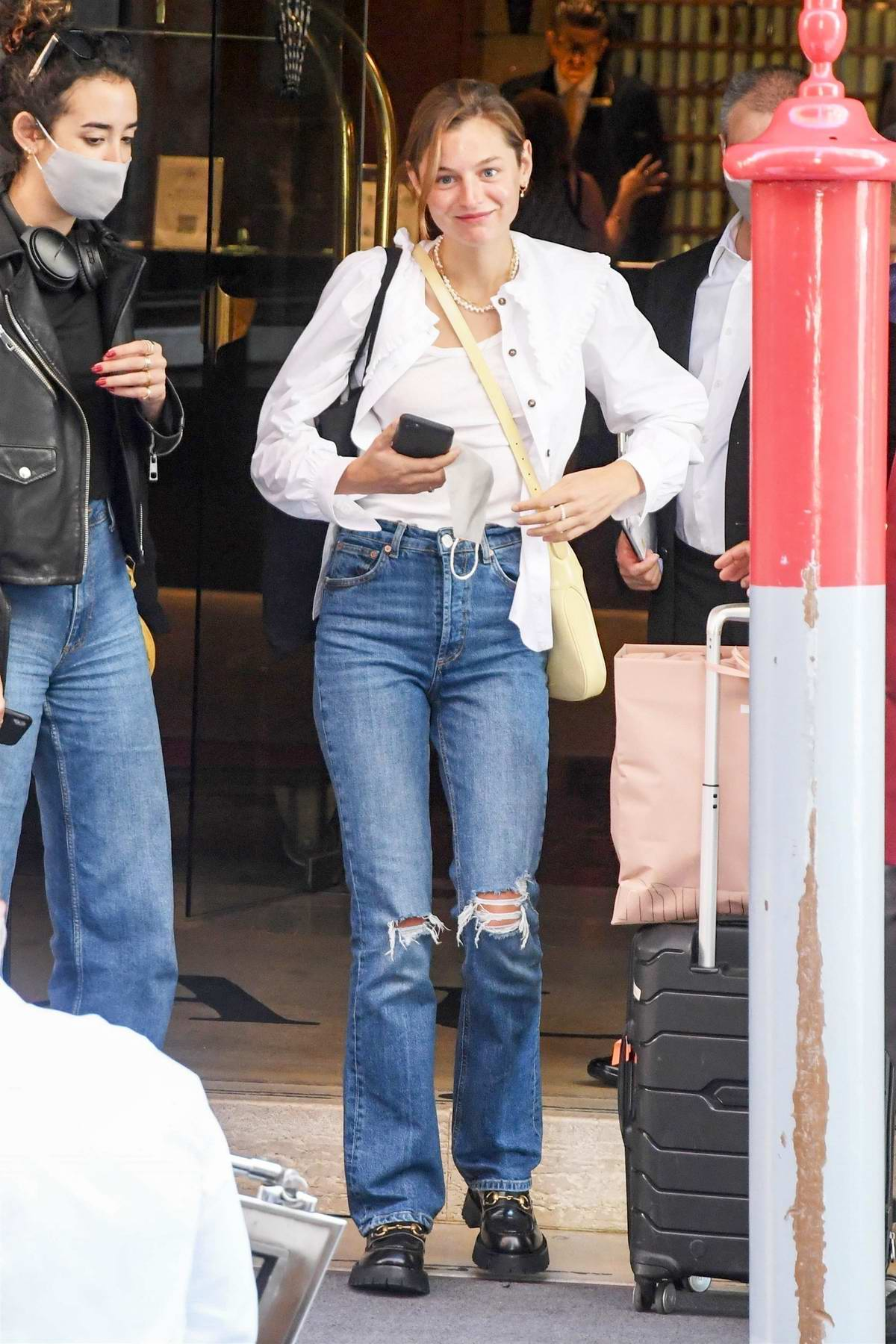 Emma Corrin seen leaving her hotel after attending the 77th Venice Film Festival in Venice, Italy