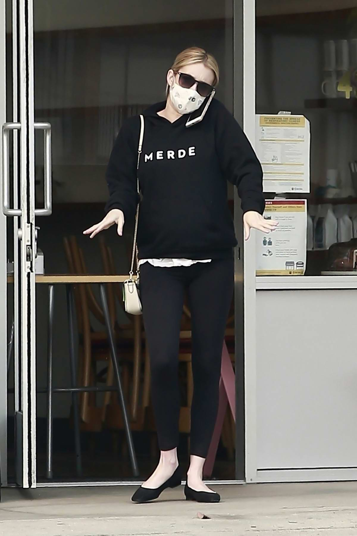 Emma Roberts steps out in all-black to grab a coffee and pastry in Los Feliz, California