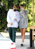 Hailey Bieber and Justin Bieber are seen making a stop to grab breakfast after a workout in West Hollywood, California