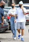 Hailey Bieber and Justin Bieber make a trip to Bay Cities Deli in Santa Monica, California