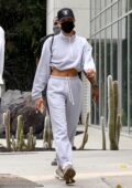 Hailey Bieber and Justine Skye seen heading into Zinque Cafe for lunch after their workout in West Hollywood, California