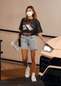 Hailey Bieber keeps it casual with a cropped tee and denim cutoffs in Los Angeles