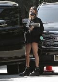 Hailey Bieber puts on a leggy display as she makes her way to a meeting in Los Angeles