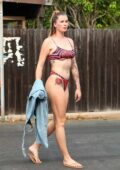 Ireland Baldwin seen wearing PrettyLittleThing's Hot Pink Zebra Print bikini in Malibu, California
