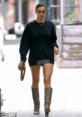 Irina Shayk flaunts her supermodel legs in a mini dress while out running a few errands in New York City
