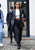 Irina Shayk seen arriving at the Boss fashion show during the Milan Fashion Week in Milan, Italy