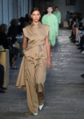 Irina Shayk walks the runway at the Boss fashion show during the Milan Fashion Week in Milan, Italy