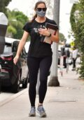 Jennifer Garner seen making her way to a casual business meeting after a workout in Brentwood, California