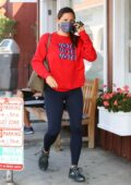 Jennifer Garner sports a red 'VOTE' sweatshirt and black leggings while out running errands in Brentwood, California