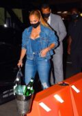 Jennifer Lopez and Alex Rodriguez seen out enjoying a dinner date at Carbone Restaurant in Manhattan, New York City