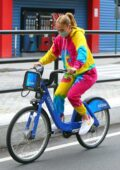 Jennifer Lopez wears colorful tie-dye sweats while riding a City bike in New York City